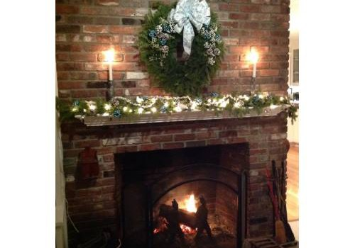 Christmas Wreath, Mantle and Fireplace